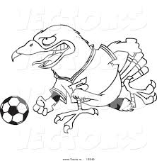 vector of a cartoon soccer hawk outlined coloring page by