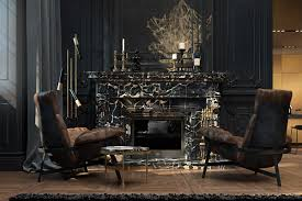 3 living spaces with dark and decadent black interiors
