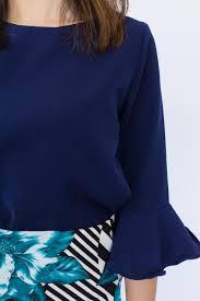 navy blue blouse trumpet sleeve blouse navy blue hook clothing