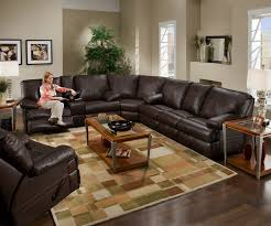 living room modern leather sectional sofa with recliners