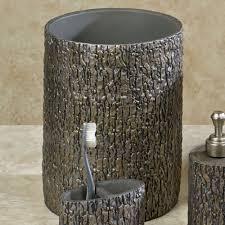 Black And Silver Bathroom Tree Bark Rustic Bath Accessories