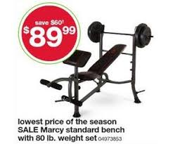 Marcy Weight Bench Set Marcy Standard Bench With 80 Lb Weight Set Deal At Kmart Black