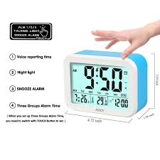 amazon com digital alarm clock aitey talking clock with 3 alarms