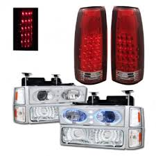 1998 chevy silverado tail lights gmc sierra 1994 1998 halo projector headlights and led tail lights
