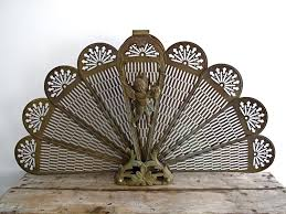 amazing antique fireplace screen with vintage brass fireplace fan