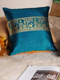 Sofa Covers Online Shopping India Buy Blue Handloom Silk Cushion Cover 16in X 16in Online Pillows
