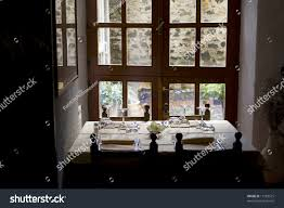 beautiful set dinnertable italian restaurant front stock photo