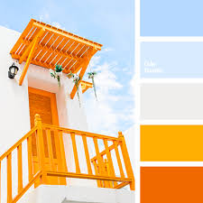 Blue Orange Color Scheme Composition Is So Pleasantly Cooled By The Shades Of Sky Blue
