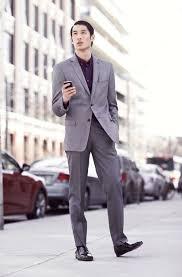 how to wear grey dress pants with a purple long sleeve shirt