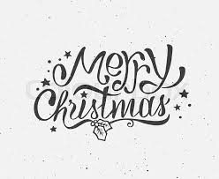 vintage merry christmas greeting card with hand drawn typography