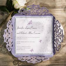 Purple And Silver Wedding Invitations Romantic Butterfly Lavender Silver Glittery Laser Cut Wedding