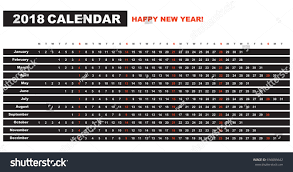 simple calendar layout 2018 years one stock vector 656086642