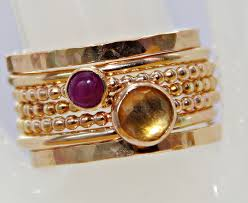 stackable birthstone rings for mothers 14k gf ruby citrine stackable birthstones mothers rings