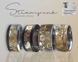 vintage titanium rings images Steampunk vintage watch gear titanium rings we use approximately jpg
