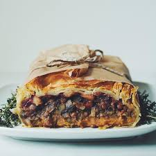 apple cranberry sweet potato mash and lentil stew puff pastry
