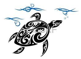 turtle in ocean water in tribal style for tattoo design royalty