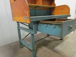 vintage industrial heavy duty workbench desk butcher block table