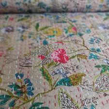 Indian Print Duvet Beige Color Floral Print Cotton Kantha Quilt Handmade Twin Size