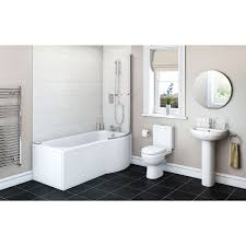 shower bath suites bath shower suites victoriaplum com eden bathroom suite with right handed p shaped shower bath 1675 x 850
