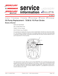 oil pump replacement 75 90 u0026 115 four stroke