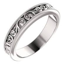 carved wedding bands women s carved paisley pattern wedding band ring
