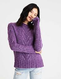 ae chunky cable knit sweater purple american eagle outfitters