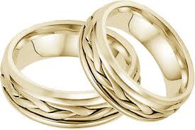 14k gold wedding band 14k yellow gold wide braided wedding band set