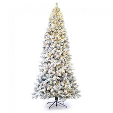 9 prelit slim flocked spruce tree