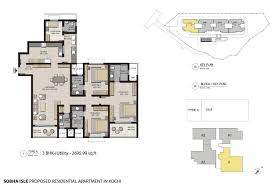 3 Bhk Apartment Floor Plan by 3 Bhk And 4 Bhk Super Luxury Apartments In Cochin Buy Homes In
