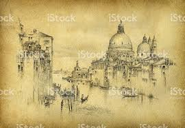 a black pencil sketch of venice on old paper stock vector art