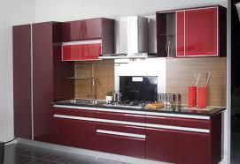 beautiful open kitchen design with red cabinet storage and black