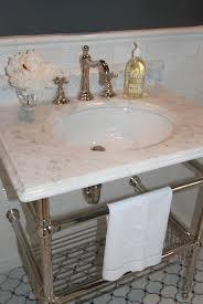 carrara marble console sink amherst gray transitional bathroom benjamin moore amherst gray