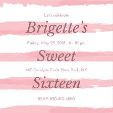 pink brush sweet 16 invitation templates by canva
