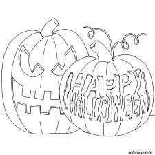 coloriage citrouilles decorees happy halloween dessin