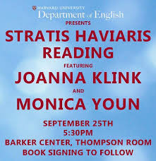 stratis haviaris reading featuring joanna klink u0026 monica youn