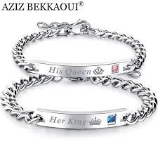stainless steel bangle charm bracelet images Drop shipping stainless steel her king his queen couple bracelets jpg