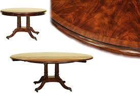 round mahogany dining table expands from 50 to 74 inches