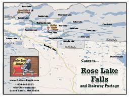 Boundary Waters Map Rose Lake Falls Gunflint Canoeing