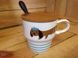 Animal Mug Animal Mug Spoon And Wooden Lid Dachshund Dog