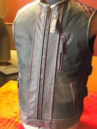 leather biker vest handmade biker vest cordura leather impregnated motorcycle vest