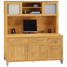 Maple Desk With Hutch Bush Somerset L Shaped Desk With Hutch Maple Hayneedle