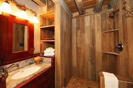 Rustic Tile Bathroom - rustic bathroom with wood tiled shower and antique dry sink