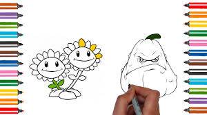 plants vs zombies 2 coloring page how to draw sunflower squash
