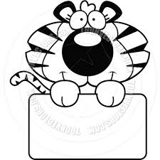 cartoon tiger cub sign black and white line art by cory thoman