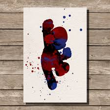 super mario brothers mario watercolor illustrations art print