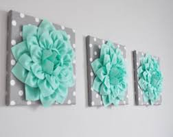 Mint Green Home Decor Large Mint Green Flower Wall Hanging Flower Wall Decor