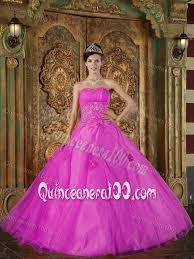 fifteen dresses inexpensive organza fuchsia sweet fifteen dresses with appliques