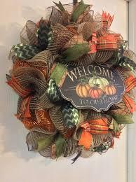 fall wreath autumn wreath welcome wreath pumpkin wreath