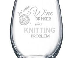 novelty wine glasses gifts knitting wine glass etsy