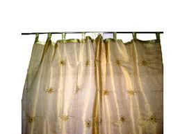 2 gold starburst embroidered sari drapes organza sheer window